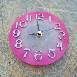 Fuchsia Clock With Silver Middle