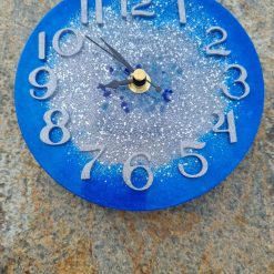 Blue Clock With Silver Middle And Blue Sea Glass