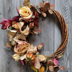 Special offer Hand made artificial silk flowered autumnal door wreath