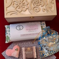 Gift box.  Plastic free & sustainable.  Filled with eco-friendly handmade items