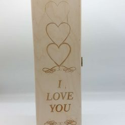 """A Personalised """"I Love You"""" Wooden Wine Box with a Hinged Lid"""