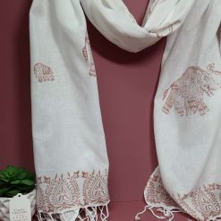 Large handprinted cotton linen scarf with bronze elephant design.
