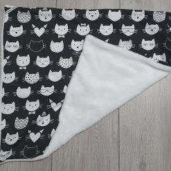 Car seat baby blanket- cat- monochrome- black and white