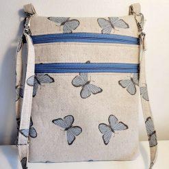 Crossbody bag, hipster bag, zipper bag. Cotton Canvas Blue Butterfly design.