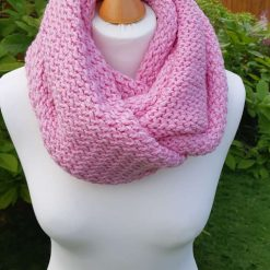 Pink recycled chunky infinity scarf