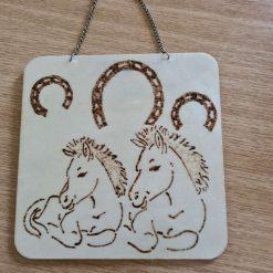 Handmade wood burning horse plaque.