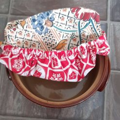 """Bowl cover. Eco friendly, reusable, reversible. Blue flowers. For Christmas and every day. Floral & Christmas parcels prints. 7"""""""