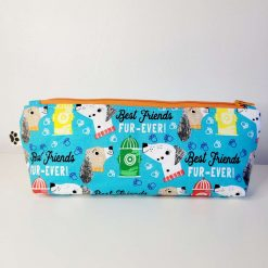 Pencil Case - Handmade - Blue best friends dog design cotton fabric with yellow & white gingham check cotton lining, orange zip.
