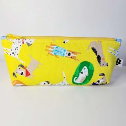 Pencil Case - Handmade - Yellow dog design cotton fabric with blue spot cotton lining and a yellow zip.