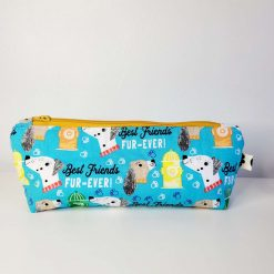 Pencil Case - Handmade - Blue best friends dog design cotton fabric with yellow & white gingham check cotton lining, mustard coloured zip.