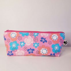 Pencil Case - Handmade - Pink and blue modern floral cotton fabric with contrasting blue/turquoise cotton lining.