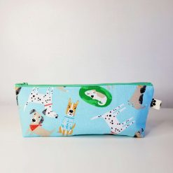 Pencil Case - Handmade - Light blue dog design cotton fabric with red & white gingham check cotton lining, green zip