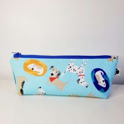 Pencil Case - Handmade - Light blue dog design cotton fabric with red & white gingham check cotton lining.