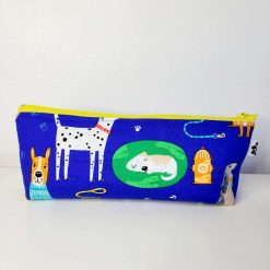 Pencil Case - Handmade - Blue Cotton Dog fabric with blue gingham check cotton lining.