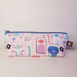 Pencil Case - Handmade - Pink Cotton Cat fabric with dotty cotton lining.