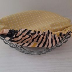 """Bowl cover. Eco friendly, reusable, reversible.  For every day and parties.  Yellow polka dots & abstract print. 7"""""""