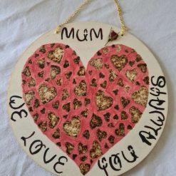Handmade wood burning mum hanging plaque