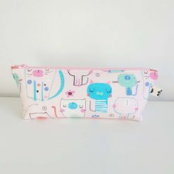 Pencil Case - Handmade - Pink Cotton Cat fabric with dotty cotton lining. Light Pink Zip.