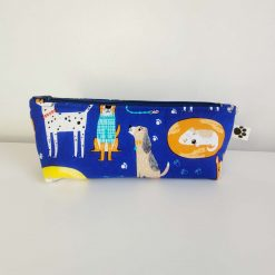 Pencil Case - Handmade - Blue Cotton Dog fabric with blue gingham check cotton lining. Navy Blue zip.