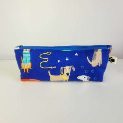 Pencil Case - Handmade - Blue Cotton Dog fabric with blue gingham check cotton lining. Royal Blue zip.