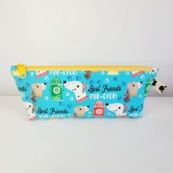 Pencil Case - Handmade - Blue best friends dog design cotton fabric with yellow & white gingham check cotton lining, yellow zip.