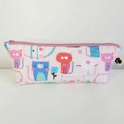 Pencil Case - Handmade - Pink Cotton Cat fabric with dotty cotton lining. Dark Pink Zip.