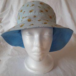 Sky Blue/Bees on Blue Reversible Cotton Sun Hat
