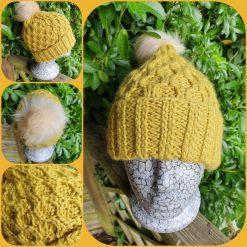Handmade crocheted patterned hat ....Barbara mustard