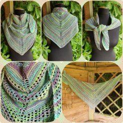 Handmade crocheted shawls/neck wrap/scarf... green cotton