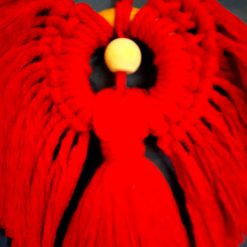 Stunning red macrame angel