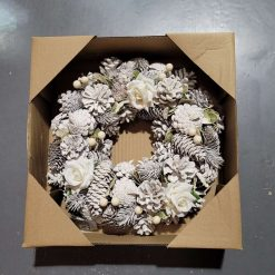 Artificial Christmas white 30cm door wreath special offer