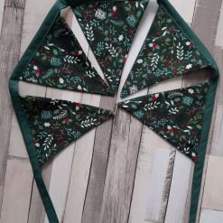 Christmas bunting garland.  Home decor gift.  Festive leaves and berries cotton fabric. 2 metres. 10 flags
