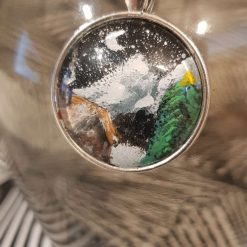 Handpainted pendant dome -Art Acrylic- one of a kind-Necklace-Charm-Keyring-A winters night - Mountains Blue 1