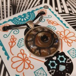 Handpainted pendant dome -Art Acrylic- one of a kind-Necklace-Charm-Keyring-Animal eyes- Brown snake eye 3