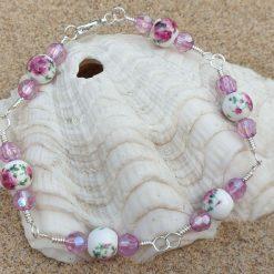 Handmade Beaded silver coloured wirewrapped bracelet