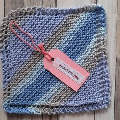 Multi purpose hand knitted cotton square.  Baby burp cloth. Facecloth. Body wash cloth