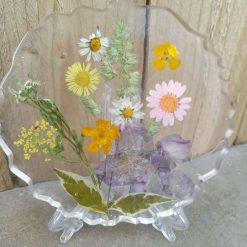 Set of 2 coasters with pressed dried flowers