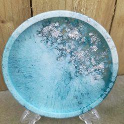 Set of 2 handmade resin coasters in teal & silver leaf