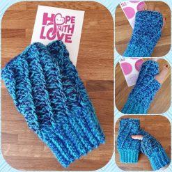 Handmade crocheted patterned fingerless gloves. Blue mix