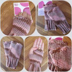 Handmade crocheted patterned fingerless gloves. Pink/Grey mix