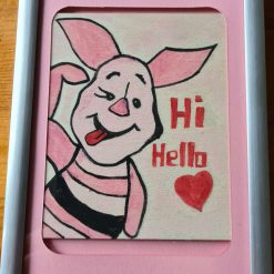 Handmade drawing with colour piglet picture