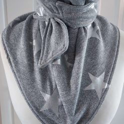 Grey with a large Silver Star Pattern, Wrap, Scarves, Shawl, Cowl, Neckwarmer Fully Fleece Lined with Grey Fleece