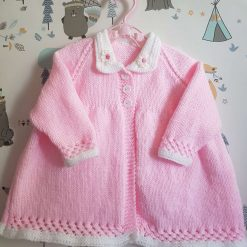 Handmade knitted baby girl vintage style coat