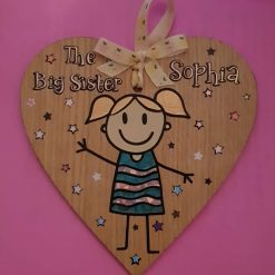 New sister/ brother plaque Wooden heart