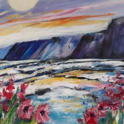 Original Oil Seascape-Sunset over Caswell Bay