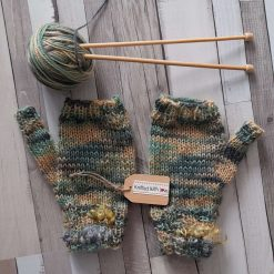 Hand knitted fingerless gloves/mittens Pure hand dyed Wensleydale wool.