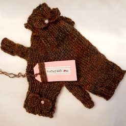 Hand knitted pure wool fingerless gloves/mittens in shades of autumn 🍂