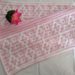 Crocheted Mosaic Baby Blanket - Pink & White