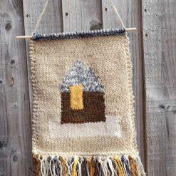 Boho wall art. Hand knitted home decor. Shades of Autumn