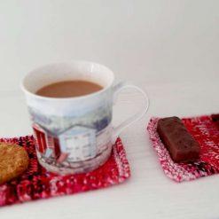 Set of 2. Hand knitted mug rug/coasters. House warming gift